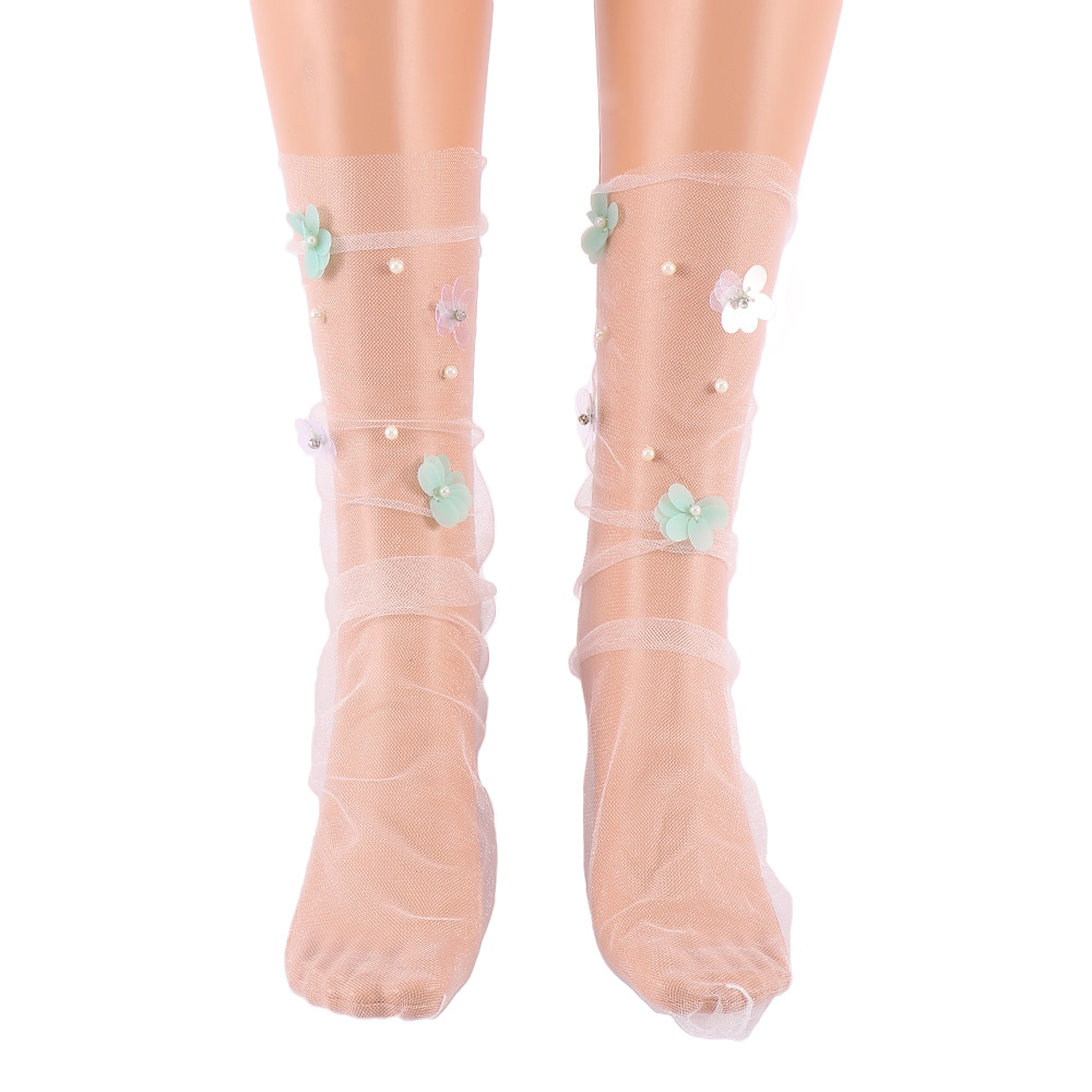 Women's Handmade Candy Colors Sequins Flowers Thin Socks Girl's Transparent Mesh Floral Pearl Socks Gauze Hosiery