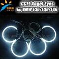 Coloridos ojos del ángel de ccfl para bmw E46 PROYECTOR CCFL ANGEL EYE kit, e36 e38 e39 4 ccfl ángel anillo de 131mm y 2 inversores