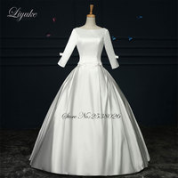 Liyuke J99 Lustrous Satin A Line Bride Dress Scoop Neck Three Quarter Floor Length Backless Wedding