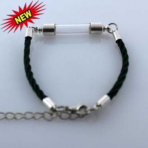 3 piezas de Vial de vidrio pulseras (6 MM curva Vial Preglued chapados en plata tornillo tapas) vial de vidrio joyería pulseras de arroz