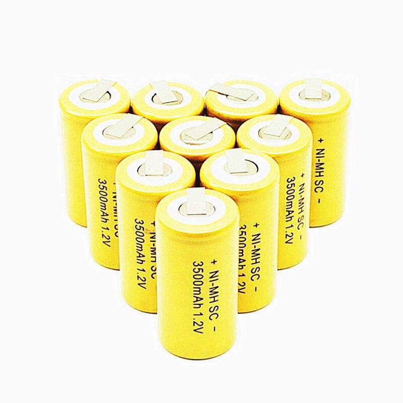 10/12/15/22 pièces Ni-MH SC 1.2V batterie Rechargeable 3500mah SC Sub C Ni-MH cellule avec onglets de soudage pour perceuse électrique tournevis