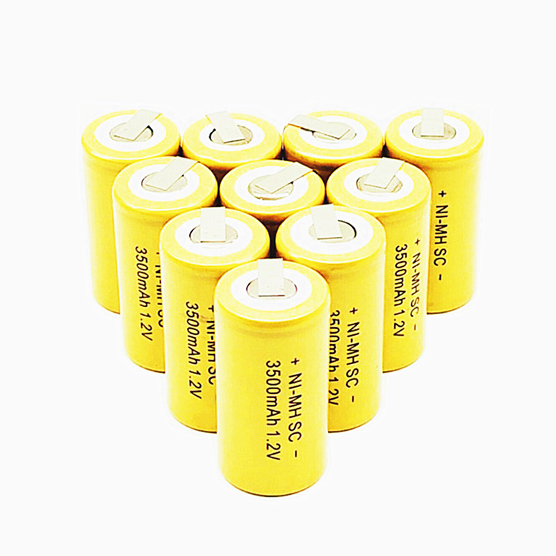 10/12/15/22PCS Ni-MH SC 1.2V Rechargeable Battery 3500mah  SC Sub C Ni-MH Cell With Welding Tabs For Electric Drill Screwdriver