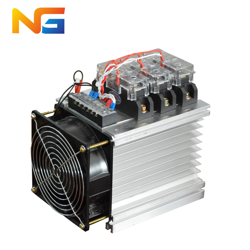 Three-phase industrial grade solid state relay assembly DC-AC DC control AC SSR 80DA with radiator and fan shanghai nenggng free shipping mager 10pcs lot ssr mgr 1 d4825 25a dc ac us single phase solid state relay 220v ssr dc control ac dc ac
