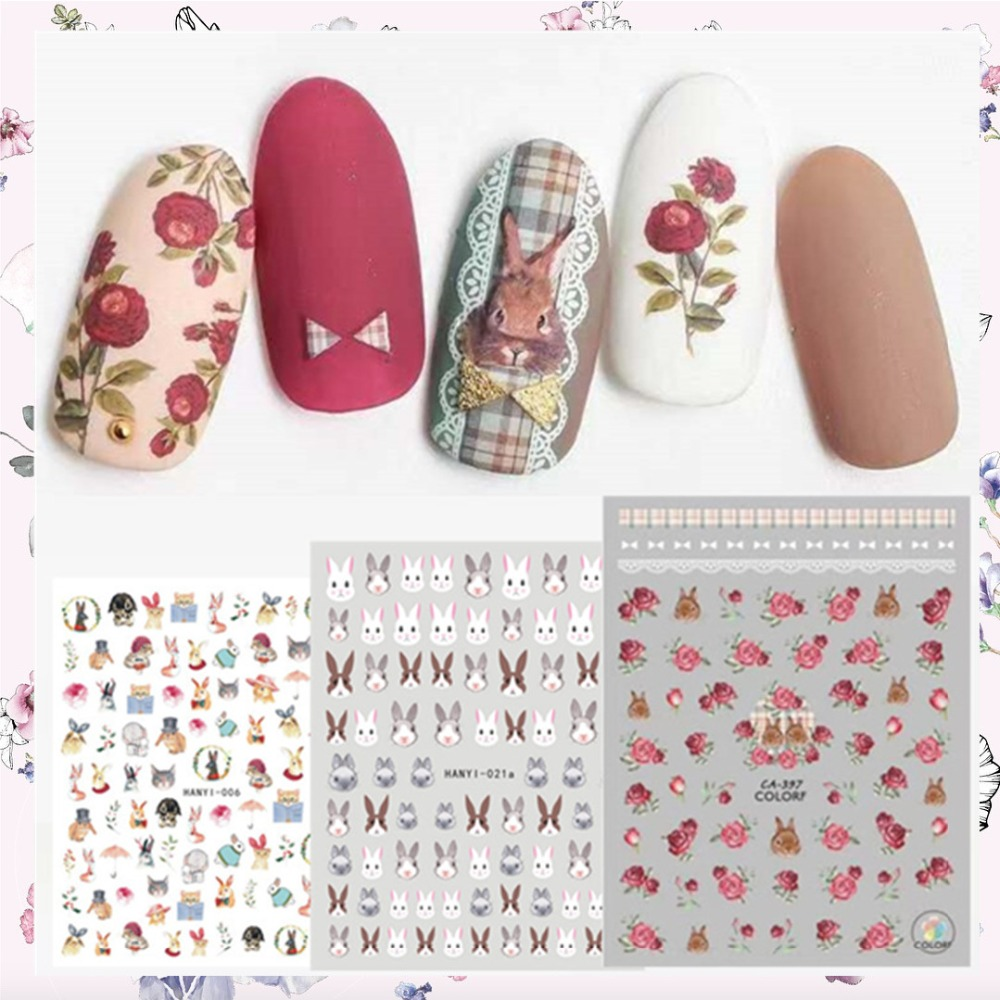 Date 3d nail art autocollant SOLONAIL hanyi-06 lapin Stamp Stickers Outil DIY Nail Décoration Outils nail art decal outils