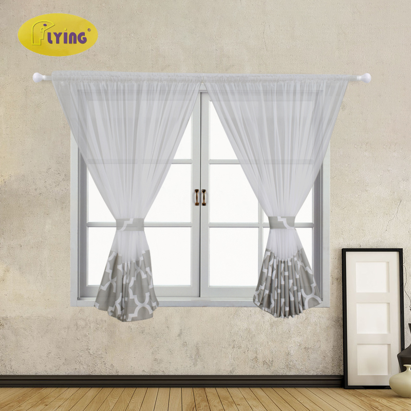 Flying  Tulle Curtain For Bay Window Perspective Voile Living Room Curtains Geometric Printed Solid Sheer