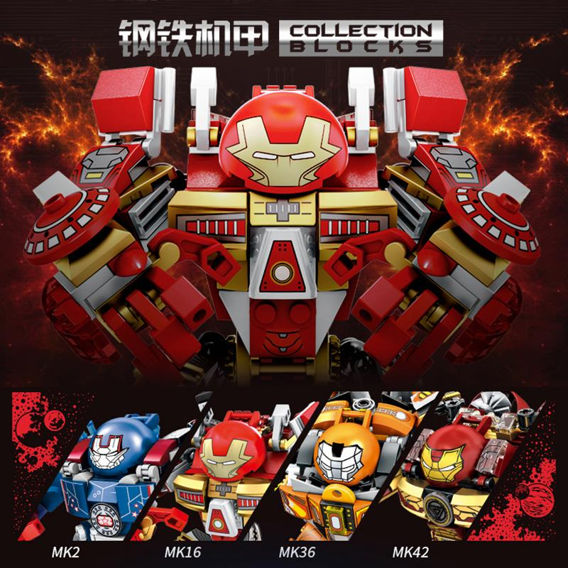Compatible legoinglys Super Heroes Marvel Avengers Iron Man Armor Mark MK2,MK16,MK36,MK42 Iron building blocks toy for kids gift