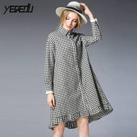 2139 Asymmetrical Black White Plaid Long Sleeve Blouse Women Oversize Pleated Hem Lapel Patchwork Shirts