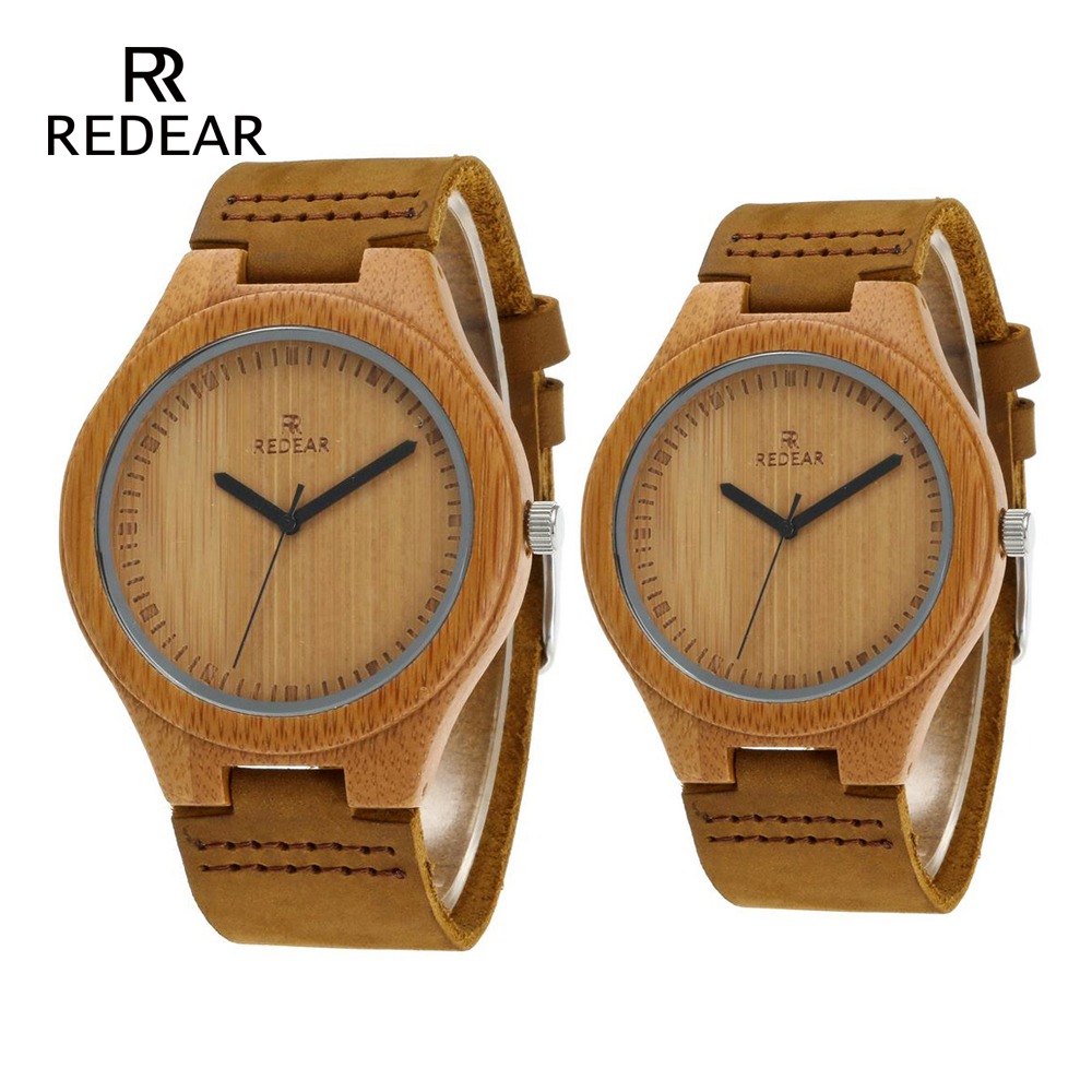 REDEAR Free Shipping Woman Watch 2019 Lovers' Watches Men Real Leather Band Handmade Quartz Wristwatch As Valentine's Gift