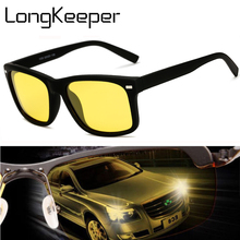 LongKeeper Men Polarized Night Vision Sun Glasses for 2018 Black Driving Goggles Square Male Yellow Lens