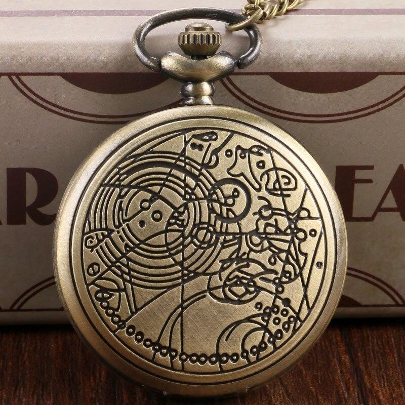 Bronze Doctor Who Design Vintage Quartz Pocket Watch Necklace Pendant Fob Chain Classic Gift To Fans Men Women Boy