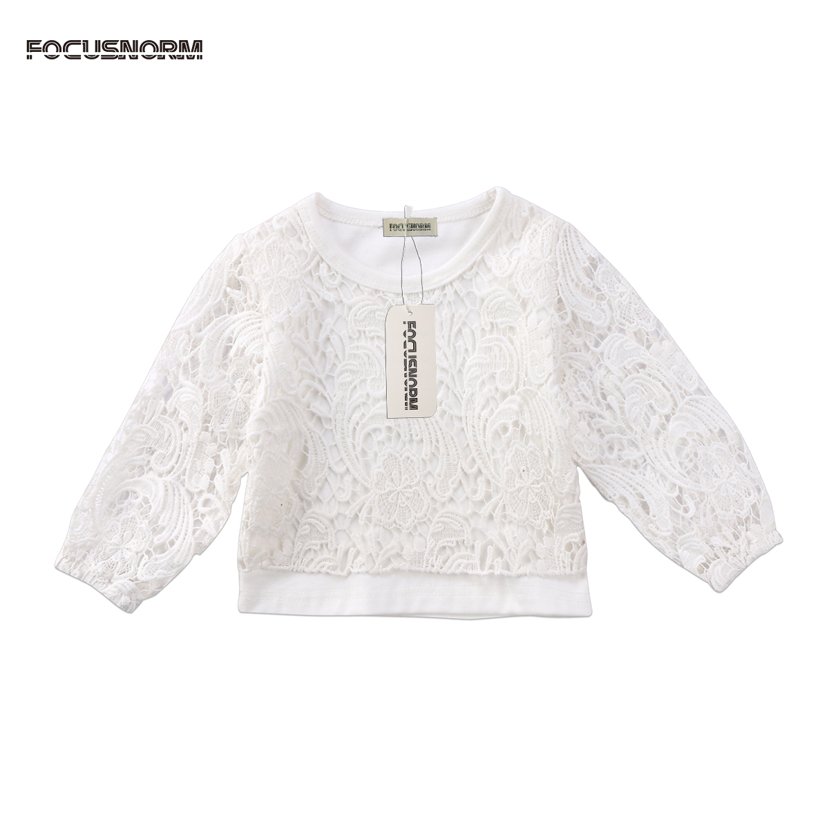Fashion Newborn Kids Baby Girls Lace Flower Long Sleeves T-Shirt Hollow Out T-shirt Clothes Outfit