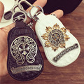 Personality Retro Genuine Leather Car Key Wallets Man Housekeeper Holders Carteira Keychain Cool Zipper Key Pouch Case
