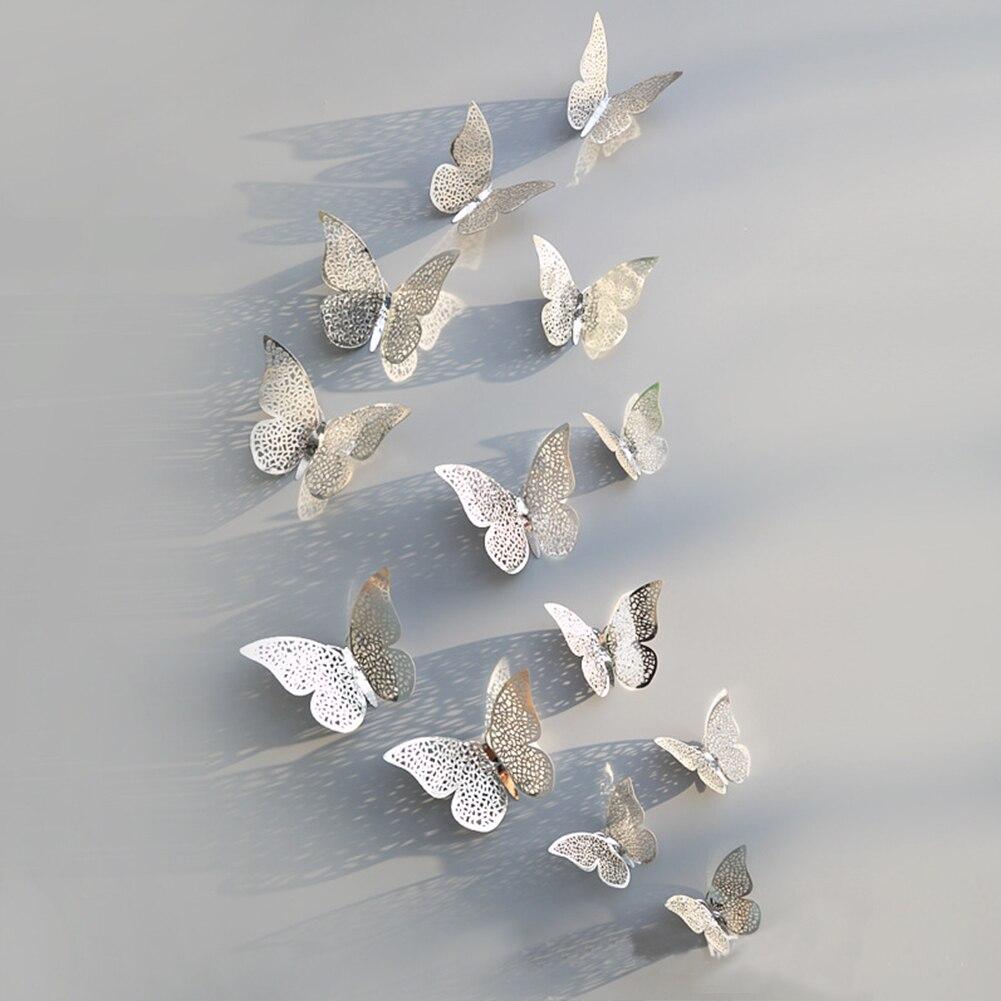 12 Pcs 3d Hohl Schmetterling Wand Aufkleber Kopfteil Wohnzimmer Schlafzimmer Wand Dekorationen Tv Hintergrund Wand Aufkleber Weich Und Leicht