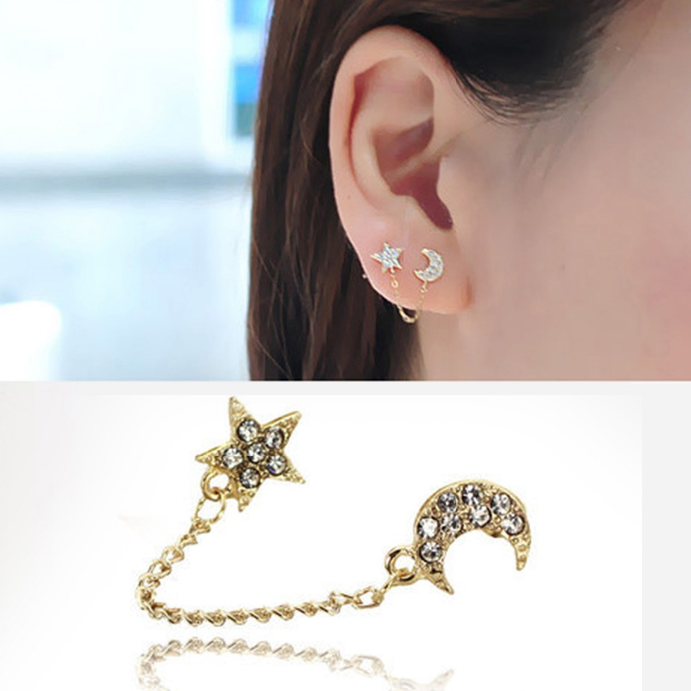 Aliexpress.com : Buy Two Piercing Ear Cuff Ring Chain