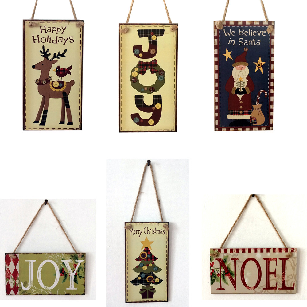 Merry Christmas Letters Wooden Pendant Door Decorations Hanging Ornament Party Festival  ...