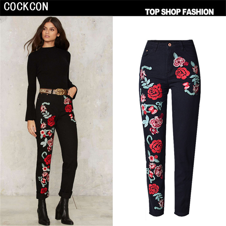 COCKCON High Waist Women Jeans Floral 3D embroidery Flower Ladies Straight Denim Pants Jeans Female Stretch