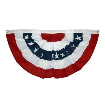 Johnin 1.5x3 ft drukowane paski gwiazdy USA plisowana Fan trznadel pół Banner flaga na 4 lipca dzień niepodległości dekoracji