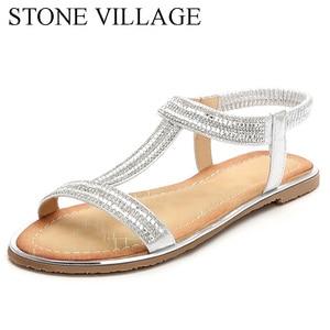 Image 1 - Zapatos informales con diamantes de imitación para mujer, sandalias de playa, estilo bohemio, Boca de pescado, para verano