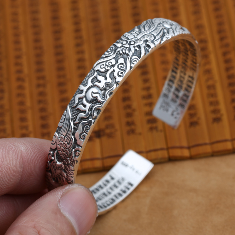 NEW! Real 999 Silver Dragon & Phonix Bangle Vintage 999 Silver Love Bracelet Pure Silver Good Luck Bangle