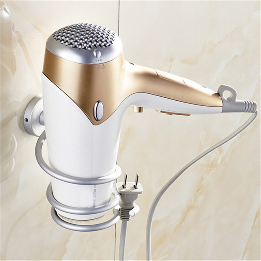 2016 Aluminum Bathroom Wall Shelf Wall-mounted Hair Dryer Rack Storage Hairdryer Support Holder Spiral Stand on sale