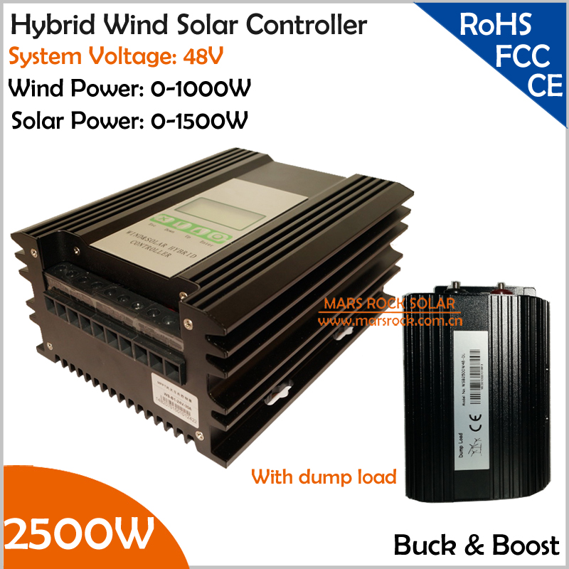 With Discharge Resister 48V 1000W Wind 1500W Solar Buck and Boost Hybrid MPPT Controller with TwDC Output Interfaces 1000w 1500w