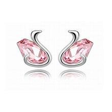 Simple Style Animal Earring Elegant Trendy Swan Crystal Stud Earrings For Women