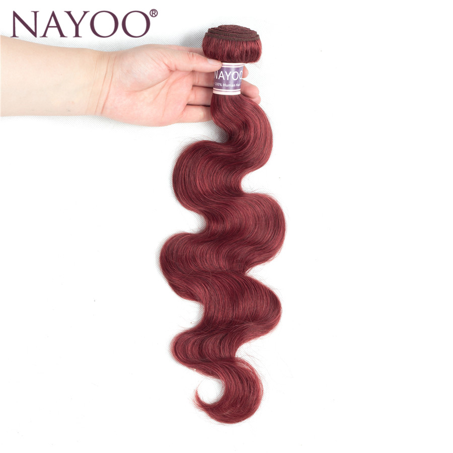 NAYOO Pre-Colored Brazilian Human Hair Weave Bundles Body Wave Color 33# Non Remy Hair Extensions 1Pcs Only Can Buy 3 or 4Pcs
