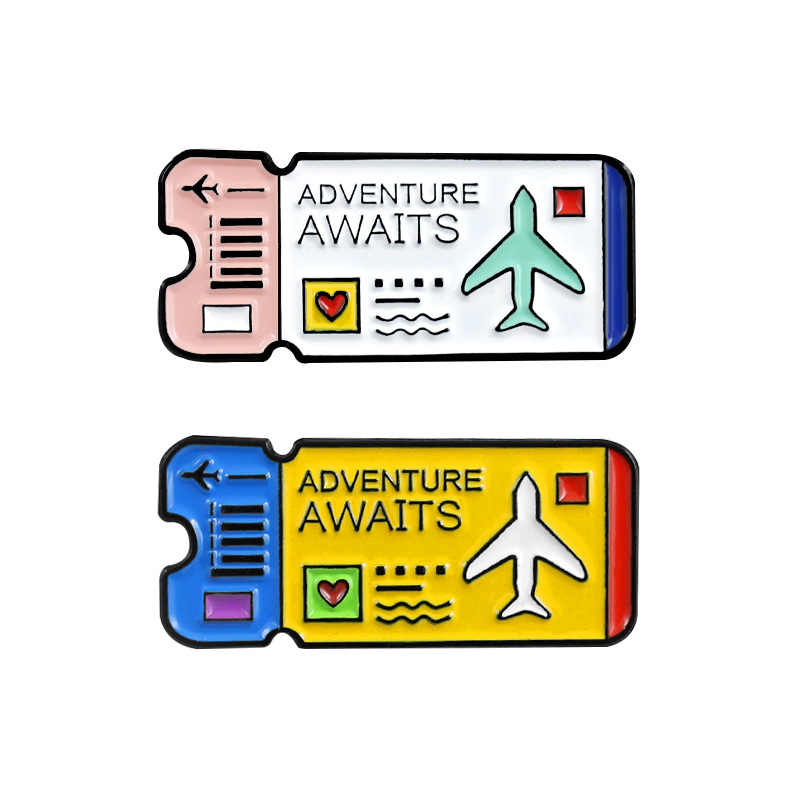 Adventure Awaits Journal Travel Enamel pins  Explorer ticket Brooch Mountains Explore Nature Badge Alpine Scene for Kids friends