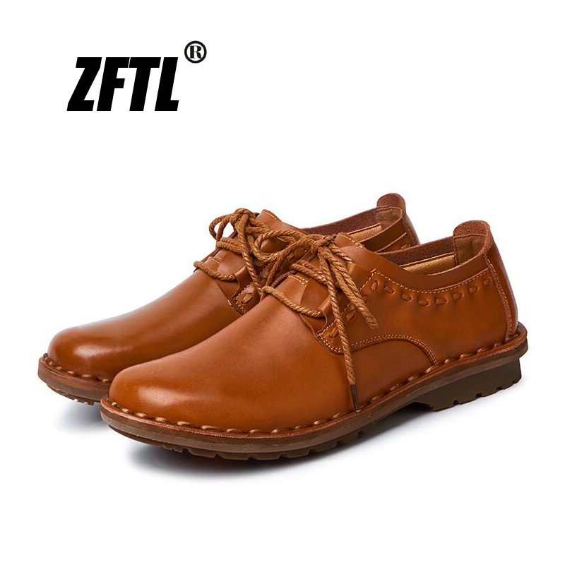 ZFTL New Men Casual Shoes Men's Handmade Business Shoes Genuine Leather Lace-up Male Loafers Wear-resistant And Breathable  031