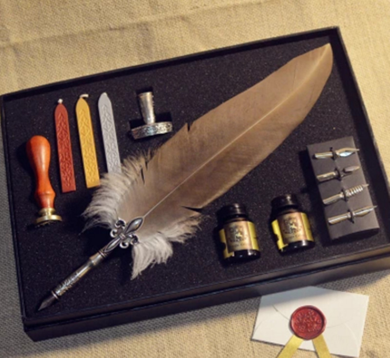 MDLG Luxury Quality Vintage European Quill Stamp Feather Dip Pen Set Fountain Pen Writing InkStationery Set With Gift Box excellent quality vintage european quill stamp feather dip pen set fountain pen writing ink luxury stationery set with gift box