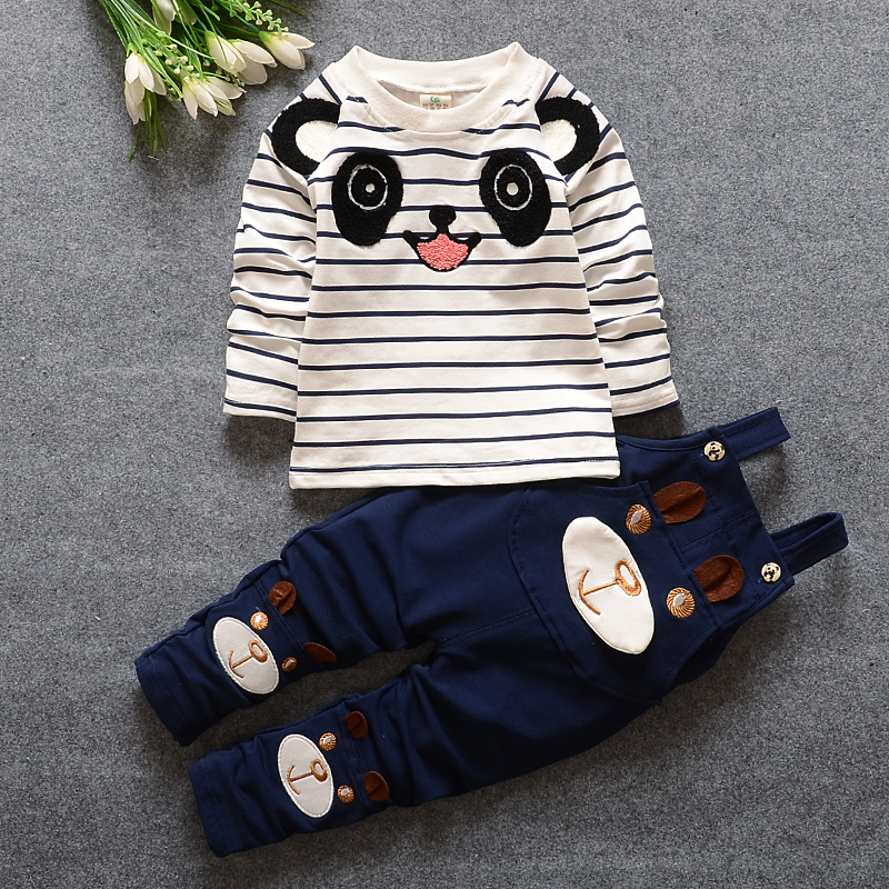 Baby Boy Clothes 2017 Spring Autumn Bear Striped Long Sleeved T-shirt Tops + Overalls Childrens Outfits Kids Bebes Jogging Suit