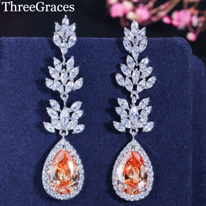 ThreeGraces Bridal Long Dangle Champagne Earrings CZ Stone Marquise Shape Big Water Drop Perhiasan Parti Perkahwinan untuk Wanita ER293