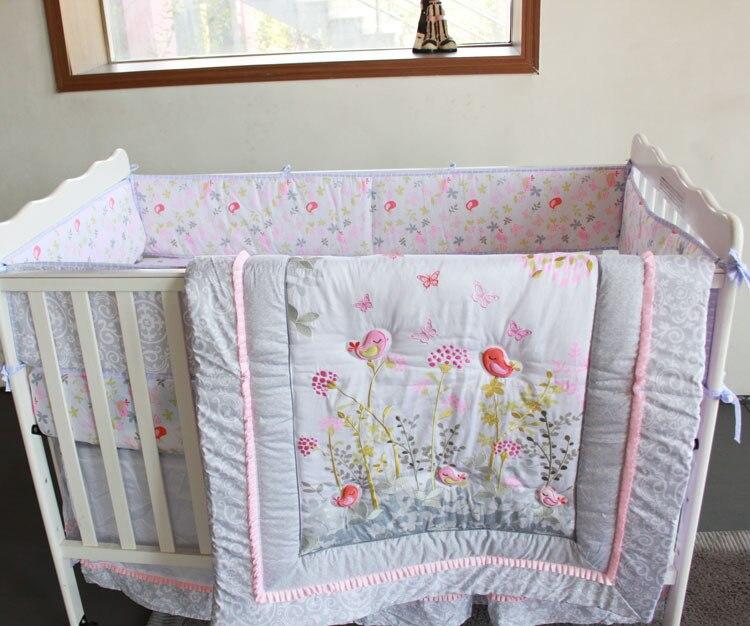 Giol Me Num Birds flowers cartoon Crib Baby Bedding Set 100%Cotton ... : baby cot quilt - Adamdwight.com