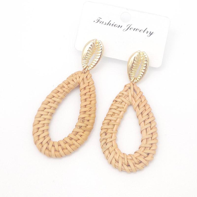 Bohemian Wicker Rattan Knit Pendant Earrings Handmade Wood Vine Weave Geometry Round Statement Long Earrings for Women Jewelry 15