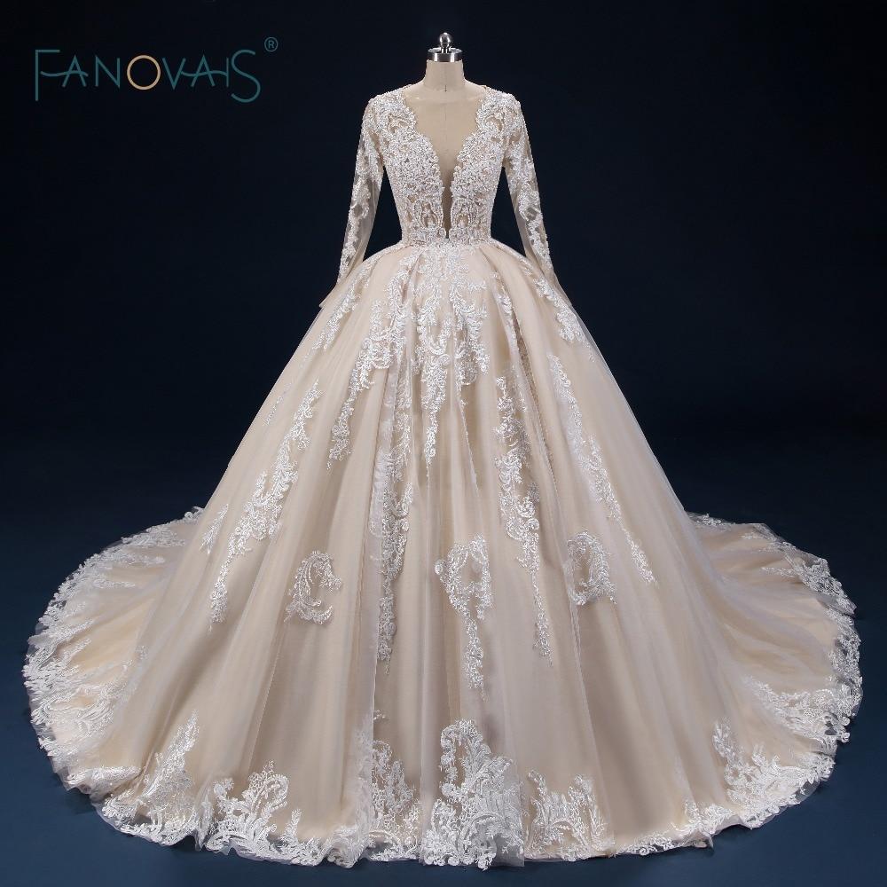 Champagne Wedding Dresses Long Sleeves Deep V Neck Dubai Ball Gown Wedding Gown Lace Tulle Beaded Vestido de Novia 2019 NW39