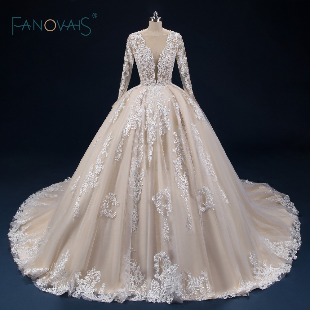 Champagne Wedding Dresses Long Sleeves Deep V Neck Dubai Ball Gown Wedding  Gown Lace Tulle Beaded 1e270006fee7