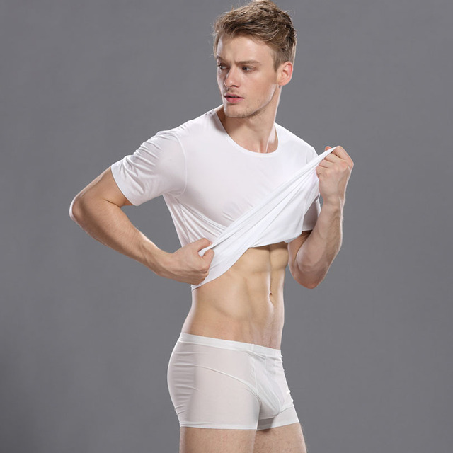 2017 New Brand Clothing Men Undershirt Chaleco Hombre Short Sleeve Tshirt Solid Spandex Nylon Mens Knitted Underwear 3 Colors