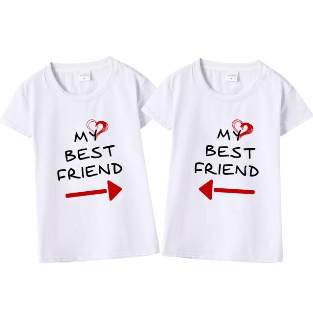 women cute best friend matching letter t shirt bff t shirt women lovers tee shirt