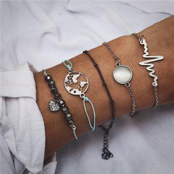 IF ME Bohemian Geometric Stone Bracelet Set for Women Vintage Rope Taseel Sequin Moon Map Elephant Heart Leaf Female Jewelry NEW 5