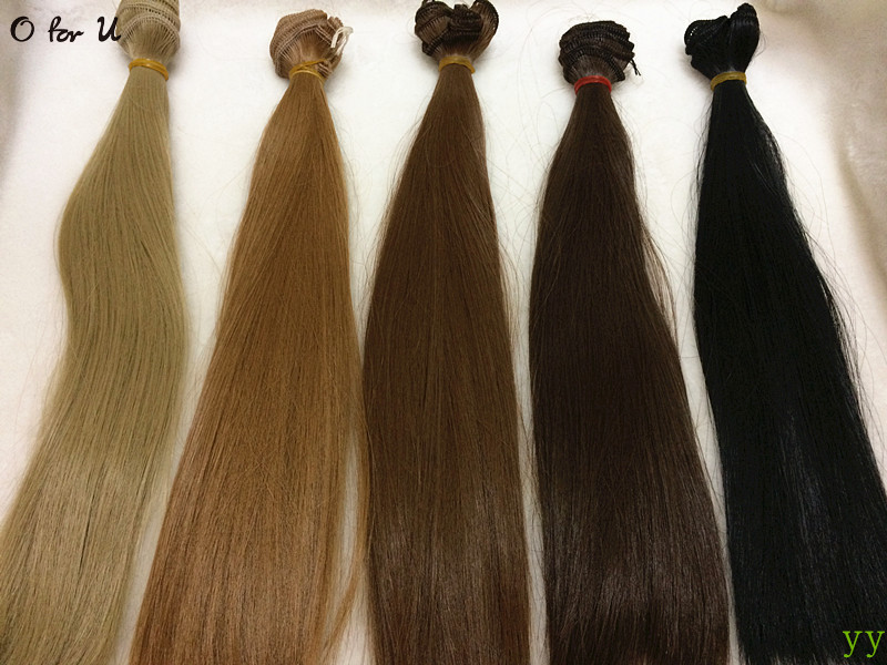 O for U Free Shipping 25*100CM DIY Handmade Straight Doll Wig Hair Black Brown Blond 1/3 1/4 BJD Dolls Wigs 30PCS/LOT Wholesale