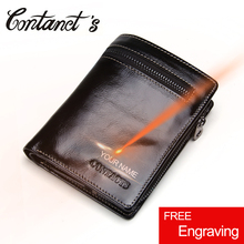 Contact's New Genuine Leather Men Wallet Fashion Card Holders Small Zipper Wallet Organizer Multi Pockets Purse For Male 2017