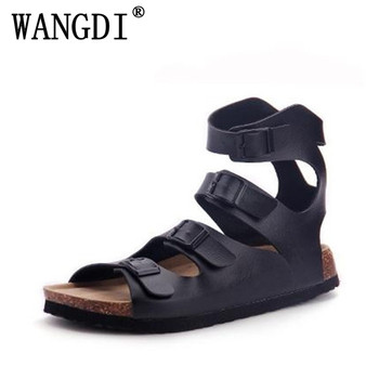 2017 nouvelle mode hommes personnalité chaussures chaussures de plage sandales en liège hommes sandales bride à la cheville Rome sandales diapositives grande taille 35-43