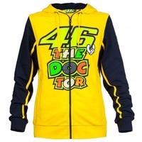 NEW 2016 Valentino Rossi VR46 The Doctor Moto GP Zip Up Hoody Hoodie - yellow Men's Zip-up Hoody racing hoodie