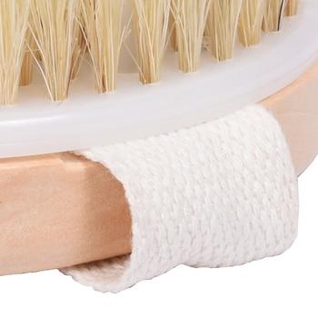 Body massage bath brush wooden bristle bath brush  Scrub Skin Massage Shower Body Round Head Bath Brushes Bathroom Accessories 6