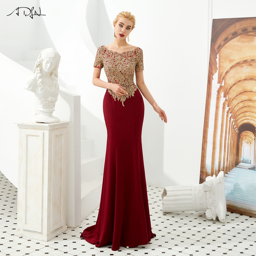 ADLN Burgundy Mother of the Bride Dresses with Gold Applique Scoop Neck Short Sleeves Beading Mermaid