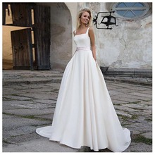 Elegant  Wedding Dress Vestidos de novia 2019 White Ivory A Line Bridal Satin Sexy Romantic Floor Length Gowns