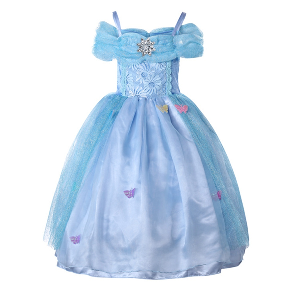 FINDPITAYA Cinderella Dress up Costume Butterflies Kids Sleeveless Princess Party Dresses for Halloween Birthday Pageant
