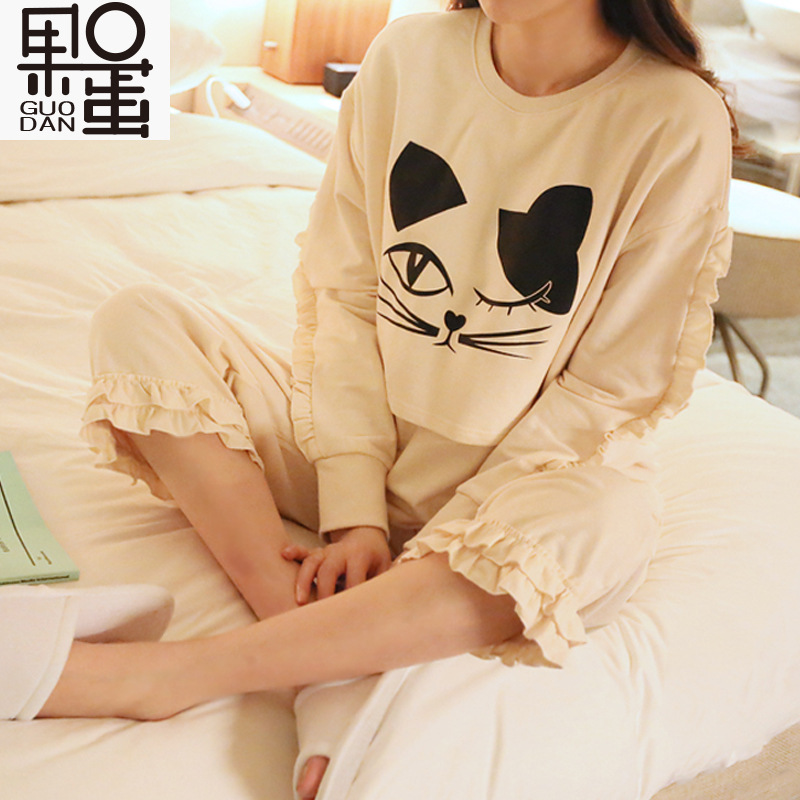 ФОТО Maternity Spring and Autumn Long-sleeved Pajamas Ms. Cartoon Month of Service Cotton Breastfeeding Nursing Home Pyjamas
