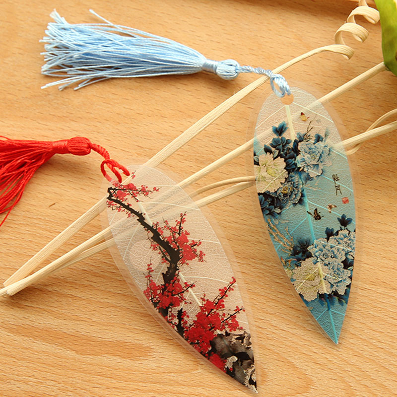 1pc Cute Classical Elegance Creative Tassel Bookmark Chinese Wind Natural Collectibles Leaves Vein Bookmarks Creative Stationery