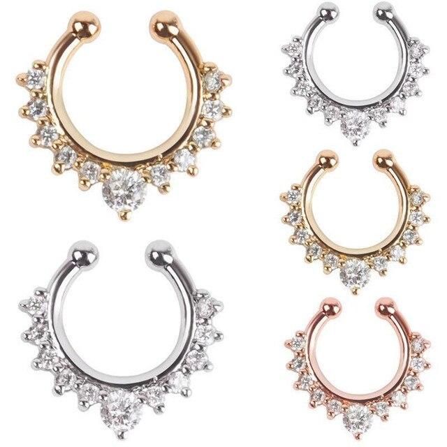 Женские кольца для носа кристалл Поддельные перегородка пирсинг